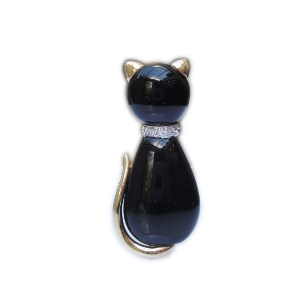 Onyx, diamant, poes broche, 18K, 15 x 34 mm.