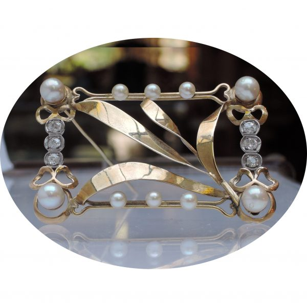 Broche, blad motief, diamant, parel