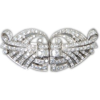 Dubbel Clip Broche, Diamant, Art Deco