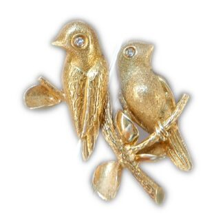 Broche, Vogels, Diamant, Grossé, 18K Goud