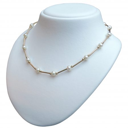 Collier, parel, staafjes, 14K goud