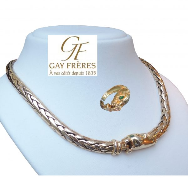 Gay Frères, Collier & Ring, Smaragd, Panter, 18K