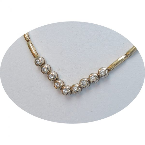 Collier, staafjes, diamant, 0,45 ct., 18K goud