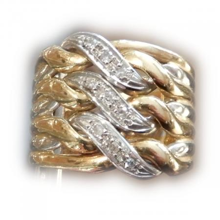 Band Ring, Diamant, 18K Bicolor