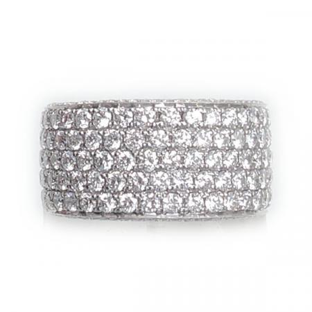 Band Ring, Pavé Diamant, 3,60 ct., 18K Wit Goud