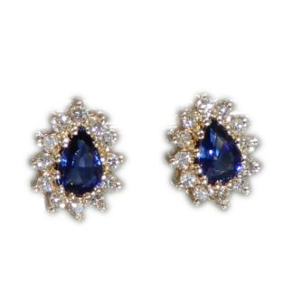 Oorstekers, Saffier, Diamant, Modern, Occasion