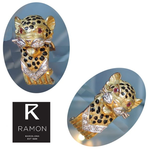 Oorclips, Panter, Diamant, Robijn, 18K, Rámon
