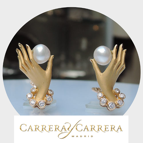 Carrera y Carrera Colección Privada, Oorstekers, Parel, Diamant