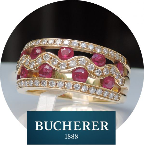 Bucherer band-ring robijn, diamant, 18K