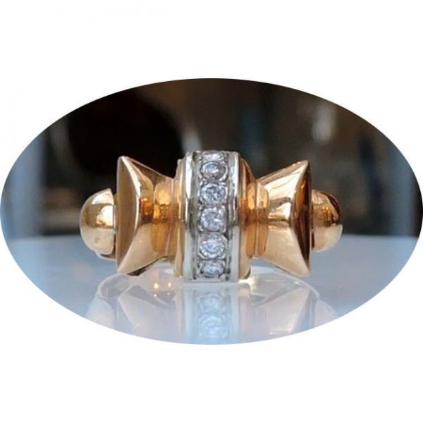 0,18 ct. diamant, ring, 18krt. goud, Retro