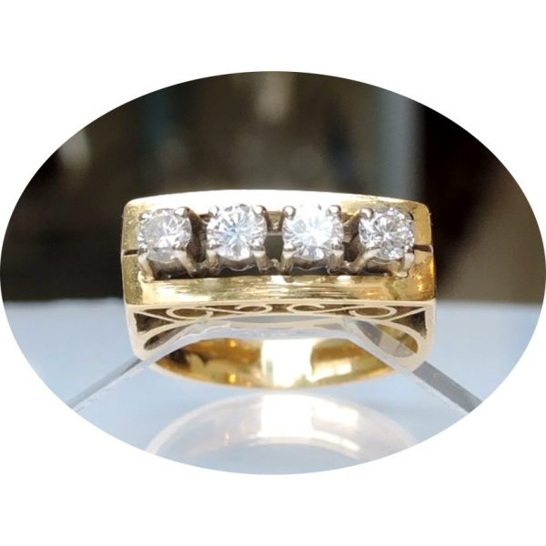 0,40 ct. diamant rij ring, 18krt. geel goud