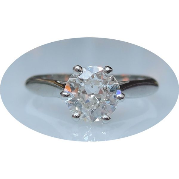 Ring Solitair 0,99 ct. Diamant, 18K Witgoud