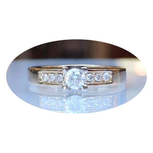 Rij-ring/ solitair, 0,35 ct. diamant, 14K geelgoud