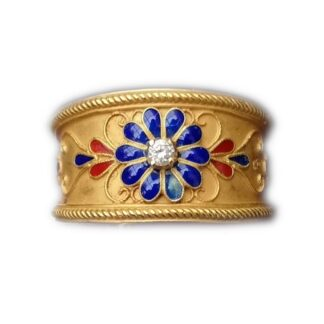 Ring, Antiek, Emaille, Diamant, 18K Goud