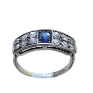 0,44 ct. diamant, saffier, rij ring, 14K goud