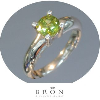 Bron, Ring, Peridot, Diamant, 14K Witgoud