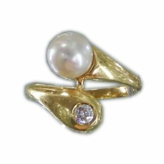 Slag Ring, Parel, Diamant, 18K Goud