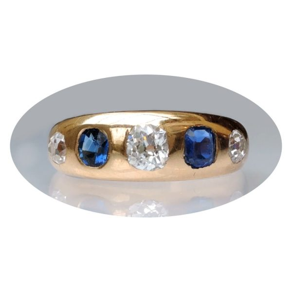 0,50 ct. diamant, saffier, ring, 18krt. goud