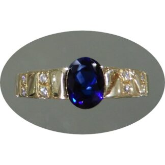 Ring, Saffier, Intens Blauw, Diamant, 14K Geelgoud