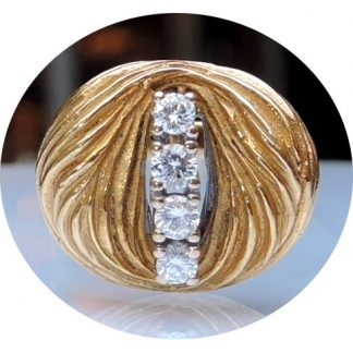 Ring, Geciseleerd, Diamant, 18K Goud