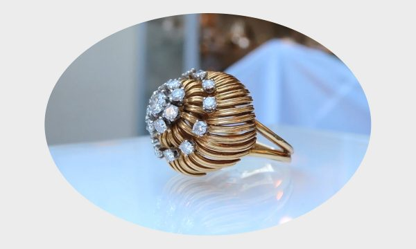 0,96 ct., TW, VS1 cocktail ring, 18krt. goud