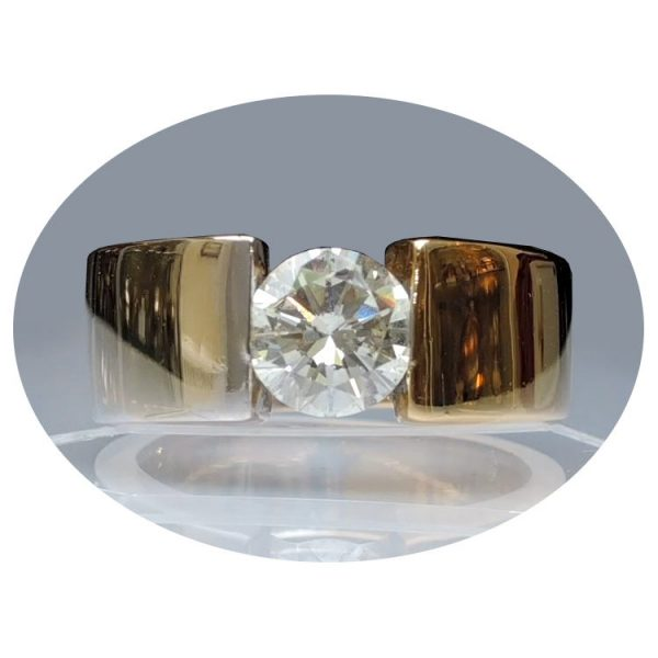 1,31 ct. diamant, band ring, 18K goud