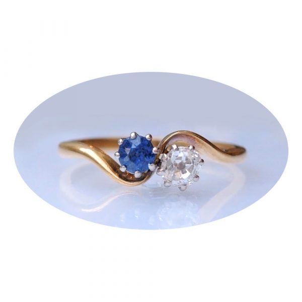 0,20 ct. diamant, saffier, slag ring, 18K goud