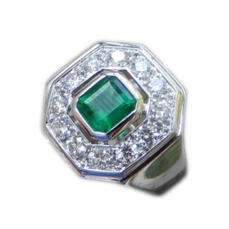 Ring, Octagon, Smaragd, Diamant, 18K Witgoud