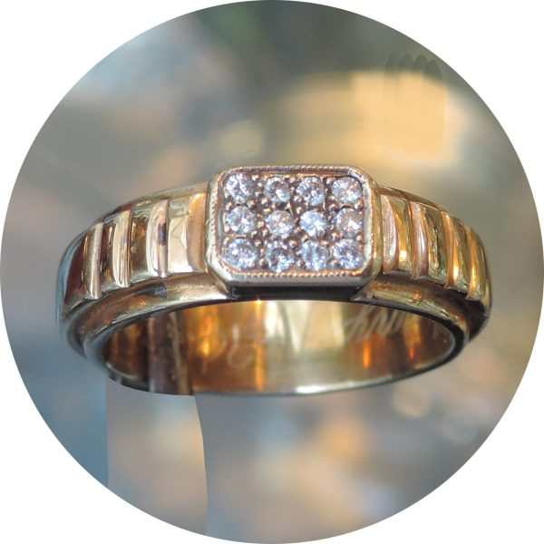 Ring, diamant, cluster, 0,18 ct., 14K