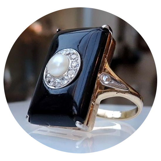 Onyx, parel, diamant, ring, 14K, Vintage