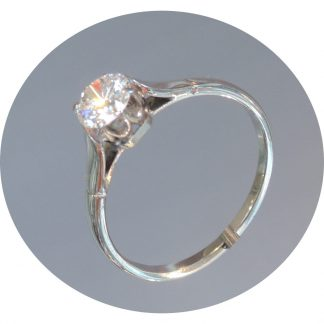 Ring, Solitair, Diamant, 0,65 ct. 14K Witgoud