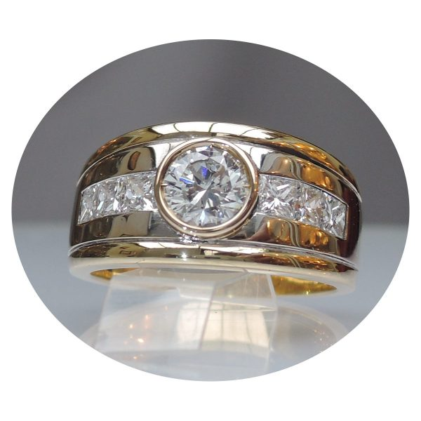 1,48 ct. diamant band ring, 18K goud