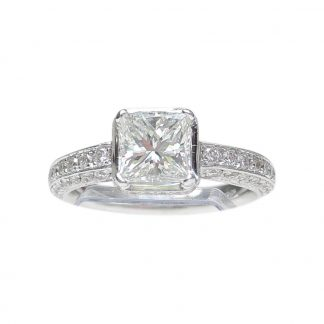 Ring, Diamant Solitair, 0,99 ct., 18K Witgoud Detail 2