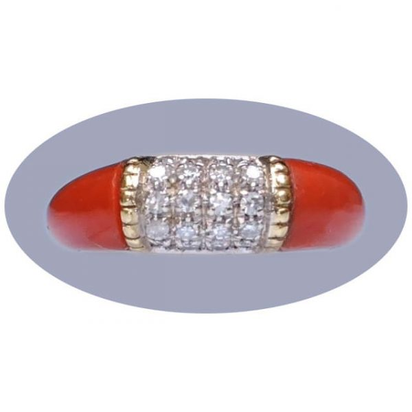 0,60 ct. diamant, koraal, ring, 18krt. goud