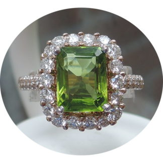 Ring, Peridot, Diamant, Entourage, 18K Goud