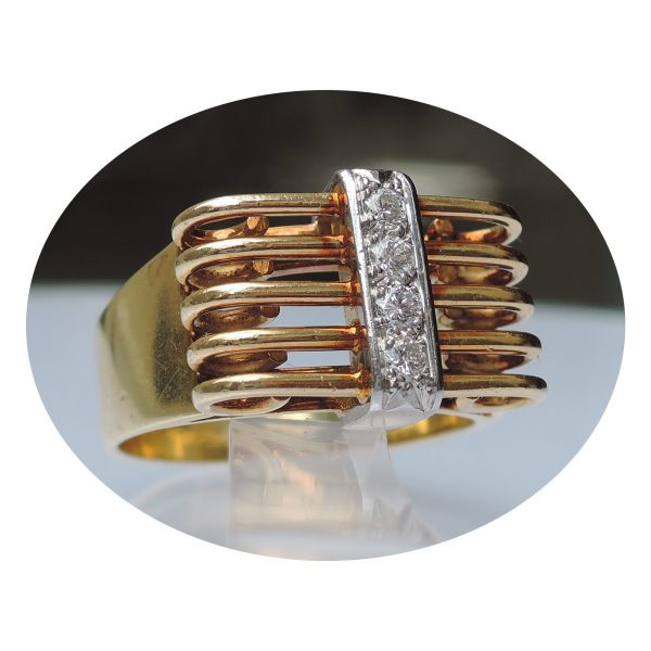 0,20 ct. diamant, spijlen ring, 18krt. goud
